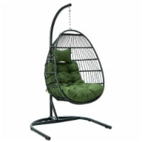 LeisureMod Patio Black Wicker Folding Hanging Egg Swing Chair in Dark Green - 1