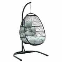 LeisureMod Patio Black Wicker Folding Hanging Egg Swing Chair in Light Grey - 1