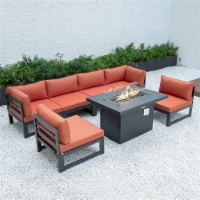 LeisureMod Chelsea 7-Piece Sectional And Fire Pit Table With Cushions in Orange
