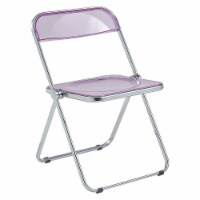 LeisureMod Lawrence Acrylic Portable Folding Chair with Metal Frame, Magenta - 1 Piece