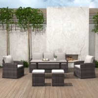Outdoor Dining Table Set Patio Conversation Furniture Dark Gold Wicker Sandy Cushions - 1