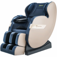 2020 Massage Chair, Full Body Shiatsu Recliner with Bluetooth and Led Light (Blue and Khaki) - 1