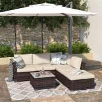 Kumo Outdoor Sectional Sofa 4-Piece Wicker Patio Furniture with Waterproof Cover
