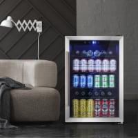 Beverage refrigerator or Wine Cooler with Glass Door 120 Can Mini Fridge freestanding