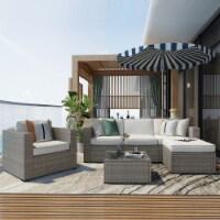 Kumo 6 Piece Patio Conversation Set Garden Cushioned Sectional Sofa