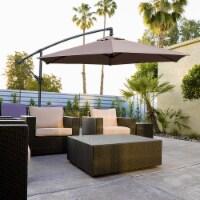 Kumo 10 Ft Patio Umbrella Outdoor with Base Offset Umbrella for Garden, TAUPE