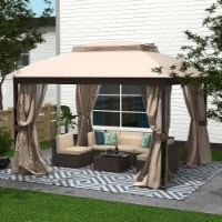 Kumo Gazebo with Mosquito Netting Outdoor Gazbeo Canopy 10x12 Double Roof Vented, Sand