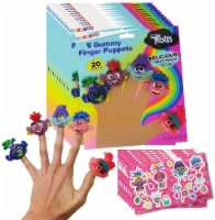 Trolls World Tour Gummy Finger Puppet Candy and Collectible Stickers - 12