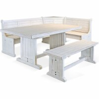 Sunny Designs Bayside Farmhouse Wood Breakfast Nook Set in Marble White - 1