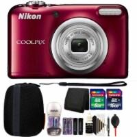 Nikon Coolpix A10 16.1 Mp Compact Digital Camera (red) + 24gb Accessory Bundle