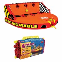 SPORTSSTUFF 53-2218 Great Big Mable 4-Rider Inflatable Towable Tube w/ Tow Rope - 1 Unit