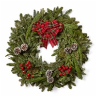Brookdale Treeland Nurseries Noble Fresh Wreath with Tartan -  Approximate Delivery is 4-6 Days
