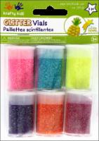 Krafty Kids Twinkle Town Neon Glitter Vials - 6 Piece