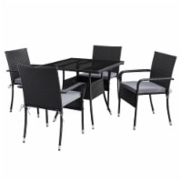 CorLiving Square 5pc Patio Dining Set - Black Resin Rattan Wicker - 1