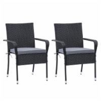 CorLiving Patio Dining Stackable Chair Set of 2 - Black Resin Rattan Wicker - 1