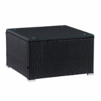 CorLiving Patio Square Glass Top Coffee Table in Black - 1