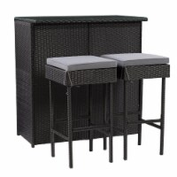 CorLiving Parksville Patio 3pc Bar Set - Black with Ash Gray Fabric Cushions - 1