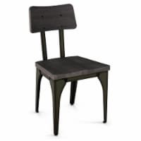 Amisco Woodland Distressed Wood and Metal Dining Chair in Dark Gray/Gun Metal - 1