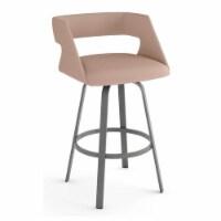 Amisco Harris 30.63  Fabric Swivel Bar Stool in Soft Pink/Glossy Gray - 1