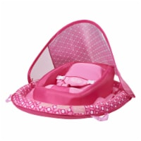 SwimWays Infant Baby Inflatable Swimming Pool Spring Float & Canopy, Pink Flower - 1 Piece