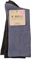 K. Bell® Soft & Dreamy Women's Crew Socks - 3 Pack - Navy Marl/Black - 9-11
