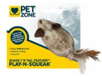 Pet Zone® Play-N-Squeak Shake Y'r Tail Feather Cat Toy