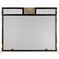 Clematis Emblem Fireplace Screen, Antique Brass - 1