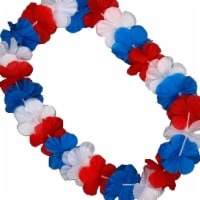 Hawaiian Flower Lei Necklace, Red, White & Blue - 1