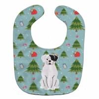 Christmas White Boxer Cooper Baby Bib