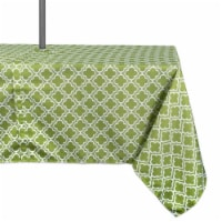 60 x 120 in. Green Lattice Outdoor Tablecloth with Zipper - 1