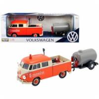Volkswagen Type 2 T1 Pickup Truck Orange & Cream with Oil Trailer Road Service 1-24 Diecast M - 1