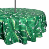 52 in. Banana Leaf Outdoor Round Tablecloth with Zipper - 1