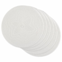White Floral Pp Woven Round Placemat - Set of 6