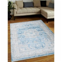1 ft. 8 in. x 2 ft. 10 in. Machine Woven Crossweave Polyester Oriental Rectangle Area Rug, Bl - 1