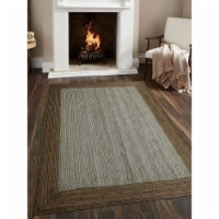 6 x 9 ft. Hand Woven Jute Eco-Friendly Oriental Rectangle Area Rug, White & Natural - 1
