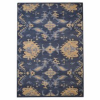 9 x 12 ft. Hand Knotted Wool Floral Rectangle Area Rug, Blue