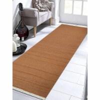 3 x 13 ft. Hand Woven Flat Weave Kilim Wool Runner Rug, Orange