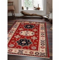 8 x 10 ft. Hand Knotted Afghan Wool & Silk Kazak Rectangle Area Rug, Red & Cream - 1