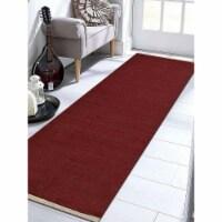 3 x 13 ft. Hand Woven Flat Weave Kilim Wool Runner Rug, Dark Red - 1