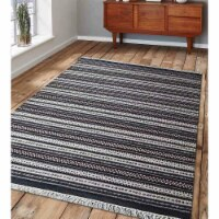 10 x 13 ft. Hand Woven Flat Weave Kilim Wool Contemporary Rectangle Area Rug, Charcoal & Whit - 1