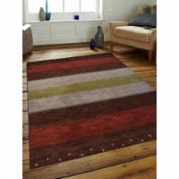 6 ft. 7 in. x 9 ft. 10 in. Hand Knotted Gabbeh Wool Contemporary Rectangle Area Rug, Brown & - 1