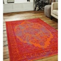 8 x 10 ft. Machine Woven Heatset Polypropylene Oriental Rectangle Area Rug, Orange & Red - 1