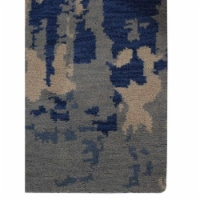 8 x 10 ft. Hand Knotted Wool Contemporary Rectangle Area Rug, Blue & Beige