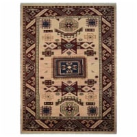 8 x 10 ft. Hand Knotted Afghan Wool & Silk Kazak Rectangle Area Rug, Cream & Burgundy - 1