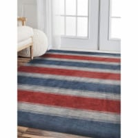 8 x 10 ft. Hand Knotted Gabbeh Wool Contemporary Rectangle Area Rug, Blue & Light Blue - 1
