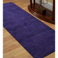2 ft. 8 in. x 8 ft. Hand Knotted Gabbeh Silk Runner Rug, Purple