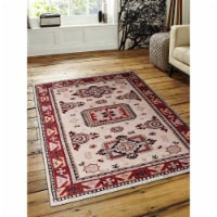 8 x 10 ft. Hand Knotted Afghan Wool & Silk Rectangle Area Rug, Cream Red - Kazak - 1