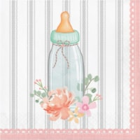 Country Floral Baby Shower Rattle Napkins, 16 Count - 1