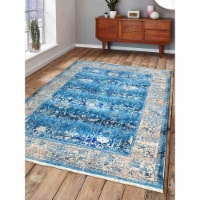 5 ft. x 7 ft. 10 in. Machine Woven Crossweave Polyester Oriental Rectangle Area Rug, Blue