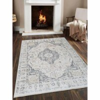 4 ft. 8 in. x 6 ft. 9 in. Machine Woven Crossweave Polyester Oriental Rectangle Area Rug, Cre - 1
